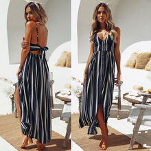 Hot Summer Off Shoulder Striped Long Maxi Dress Women Sexy Sleeveless Bandage Backless Party Beach Dresses