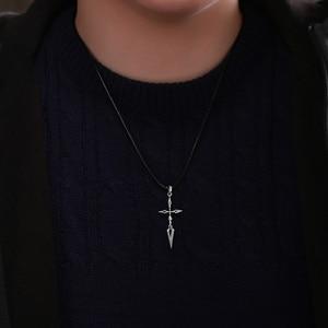 Image 5 - Fate Zero Saber Pendant Silver 925 Sterling Cross Jewelry Necklace Anime Role Emiya Kiritsugu Figure Model