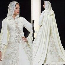 Vestidos High Quality A-Line Ivory Chiffon Bridal Wedding Dress Long Sleeve Muslim Bridal Gowns With Hijab Arabic Wedding Dress