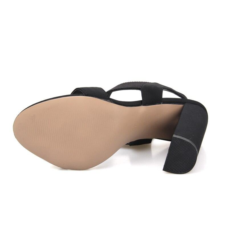 Del Nuevo Pie Sandalias Gladiador Zapatos rojo Verano Dedo Beige Tacón Correa De Mujer Boda 2019 Cuadrado negro vqdTwT
