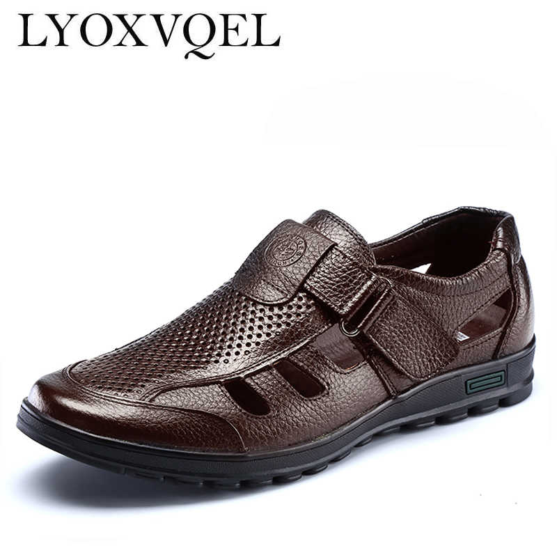 Mens sandals genuine leather black brown hollow  breathable men leather sandals Men Beach shoes M008