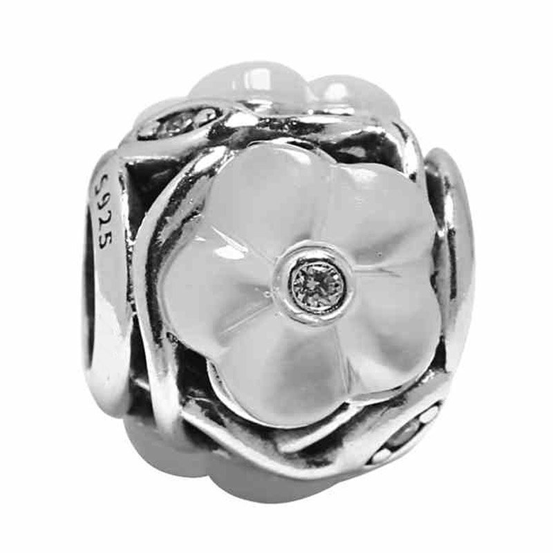 New 925 Sterling Silver Bead Charm Openwork Luminous Floral WIth Mother of pearl & Crystal Bead Fit Pandora Bracelet DIY Jewelry
