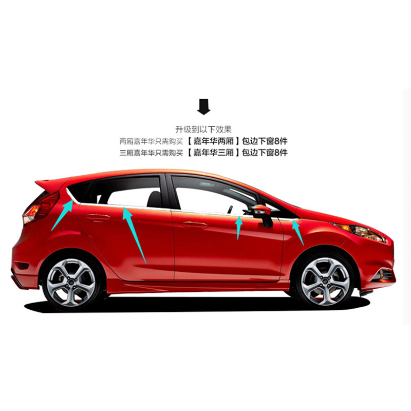 цена на High-quality stainless steel Strips Car Window Trim Decoration Accessories Car styling For 2009-2014 Ford Fiesta Hat (8piece)
