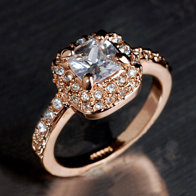 USTAR Square Austria Crystals Wedding Rings For Women Anel Rose Gold Color Zircon Female Party