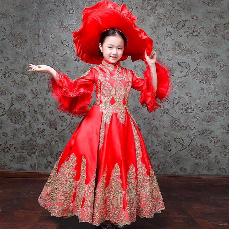 Rétro Costumes pour enfants filles fête d'anniversaire col roulé trois quarts volants manches Performance Royal robe de cour européenne
