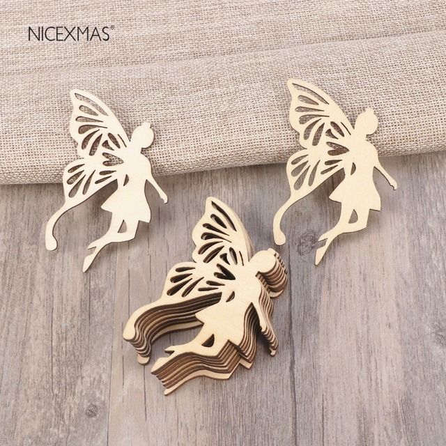 10pcs Wood Fairy Angels Wings shape Ornament Embellishment Tag with String Hanger