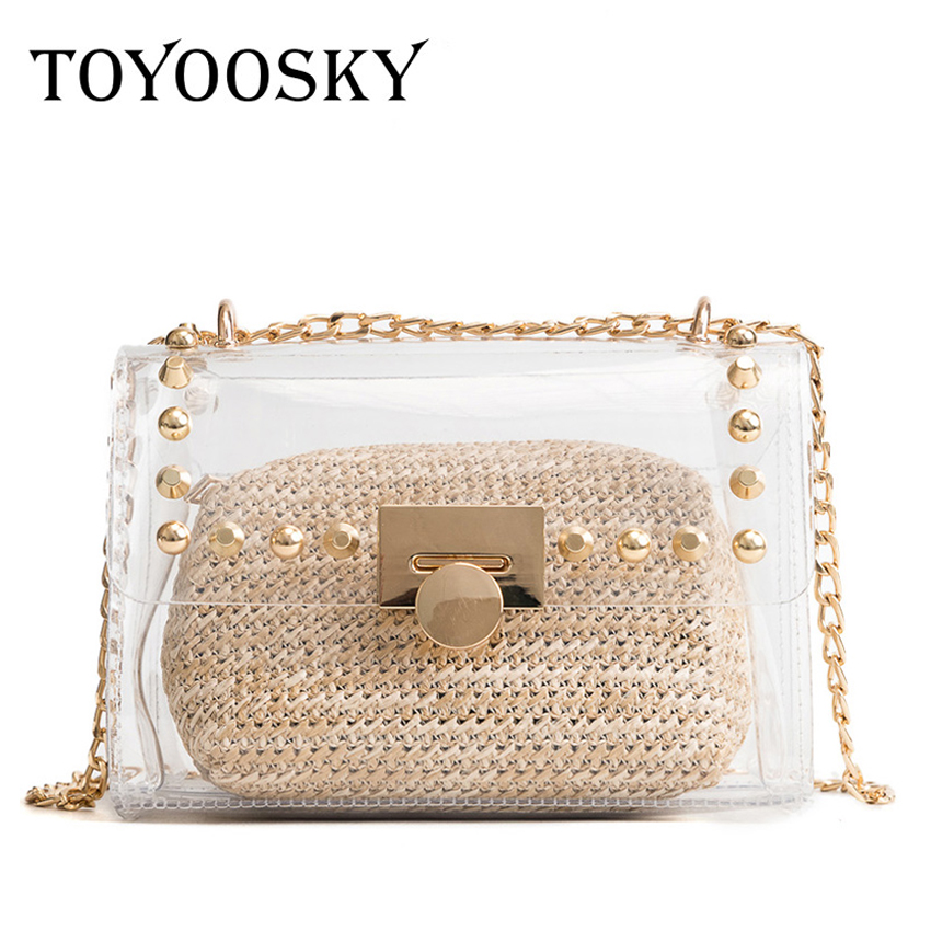 Toyoosky Clear Plastic Handbags 2018 Summer Women Messenger Bag Composite Bags Rivet Clutch Transparent Straw Purse Beach In Shoulder From Luggage