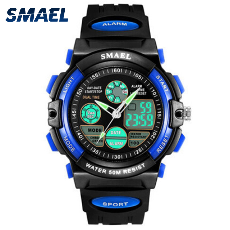 SMAEL Student font b Watches b font Digital LED Wristwatch Electronic Dual Display Automatic Date Uhren