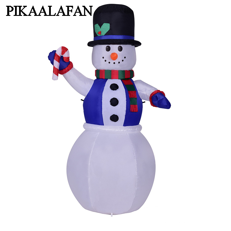 PIKAALAFAN 1.8-Meter Led Light Inflatable Toy Santa Snowman Dressed As A Blue Vest Snowman For Christmas Inflatable Model