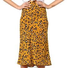 Юбка, летняя Женская Осенняя длинная леопардовая юбка, эластичная талия, шифоновая юбка, плиссированная юбка, макси, повседневная, с принтом, Пляжная, H4