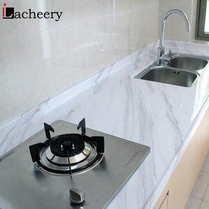 Image 1 - Современные Простые мраморные обои из ПВХ, водонепроницаемый настенный Декор для ванной комнаты, кухонные наклейки на столешницу, виниловая самоклеящаяся контактная бумага