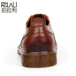 Image 4 - Polali男性の革靴カジュアル新2020本革シューズメンズオックスフォードファッションレースアップドレスシューズ屋外作業靴sapatos
