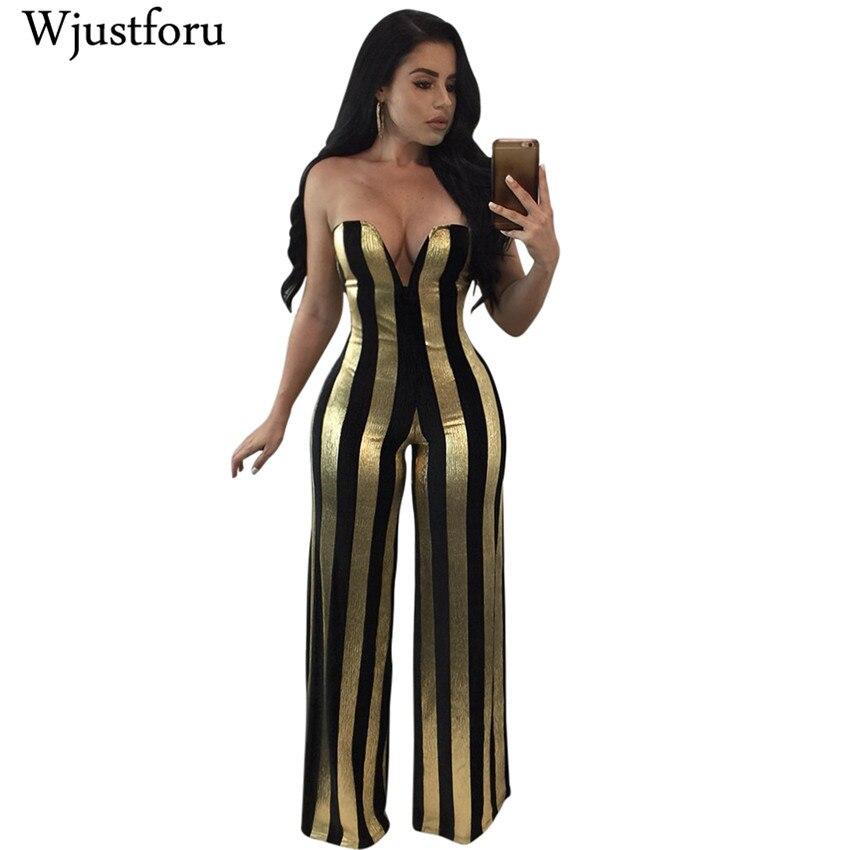 Wjustforu Black Gold Striped   Jumpsuits   Women Sexy Off Shoulder Party Overalls Female Wide Leg Elegant   Jumpsuit   Rompers Long Pant