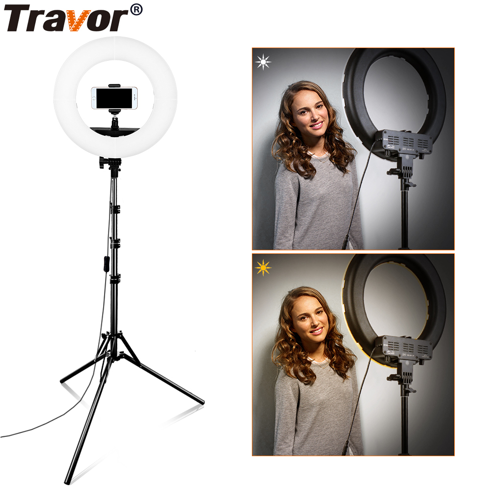 Travor 384pcs Bi Color LED Dimmable Ring Light 3200K-5500K 45W CRI90 Photography makeup Ring Light Lamp For Live Broadcast Video travor tl 600a 2 4g kit bi color led video light 3200k 5500k for photography shooting three light 6pcs battery 3 light standing
