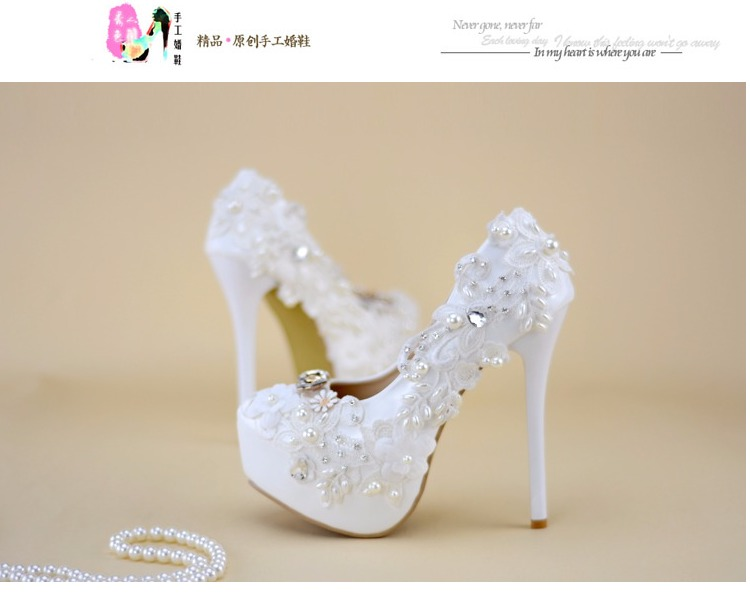 High heeled Shoes Woman White Bride Wedding Shoes Hand Lace Dress ... cd33efffa7c9