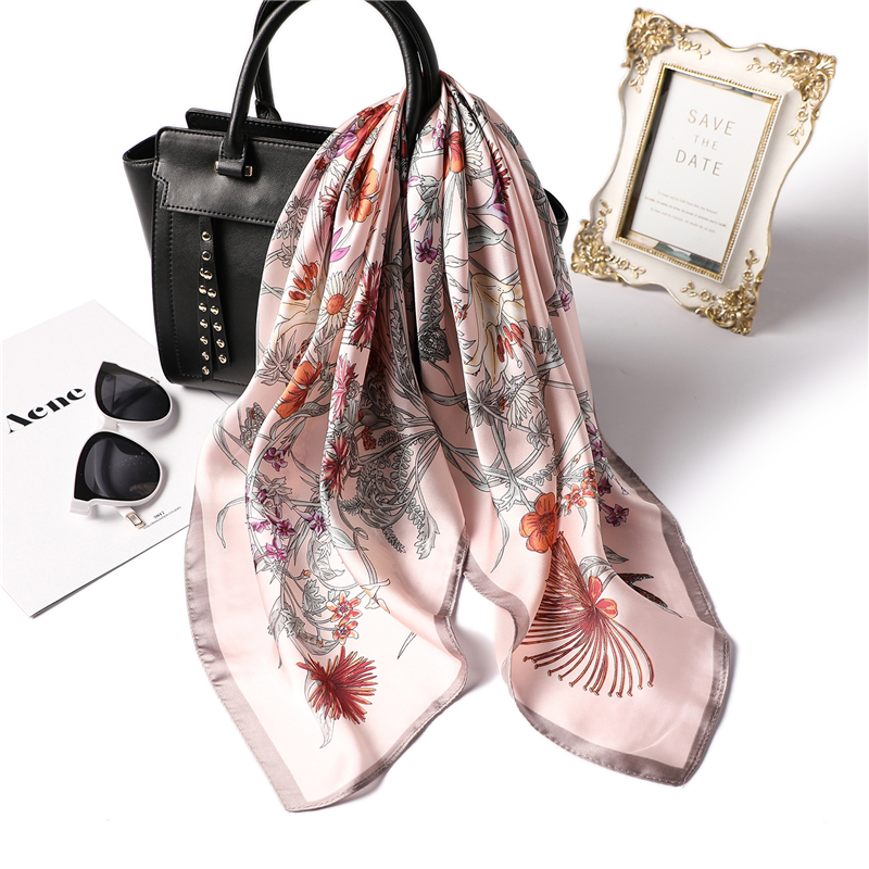 2019 Fashion Floral Print Silk Scarf Square For Women Shawl Office Hair Neck Scarves Small Size Handkerchief Foulard