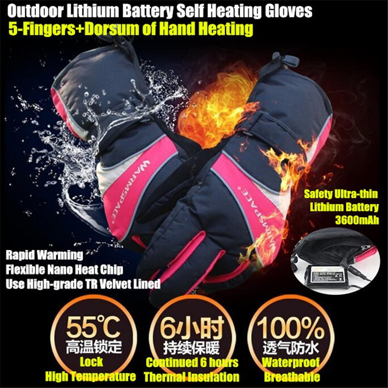 20pair 3600MAH Smart USB Electric Heated Gloves,Ski Waterproof Lithium Battery Self Heating,5 Fingers&Hand Back Heating 6 Hour