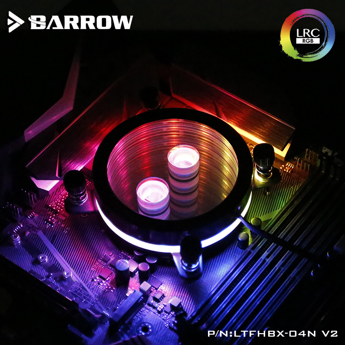 Barrow CPU Water Block use for <font><b>INTEL</b></font> <font><b>LGA</b></font> 2011 <font><b>2066</b></font> X99 X299 Acrylic + Copper Radiator RGB 5V GND to 3PIN Hearder in Motherboard image
