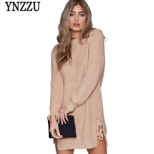 YNZZU 2017 Winter Casual Knit Dress Long Sleeve Side Split Lace Up Women  Sweater Pullovers Dresses Loose Femme Vestidos YD171 ab9197b6b