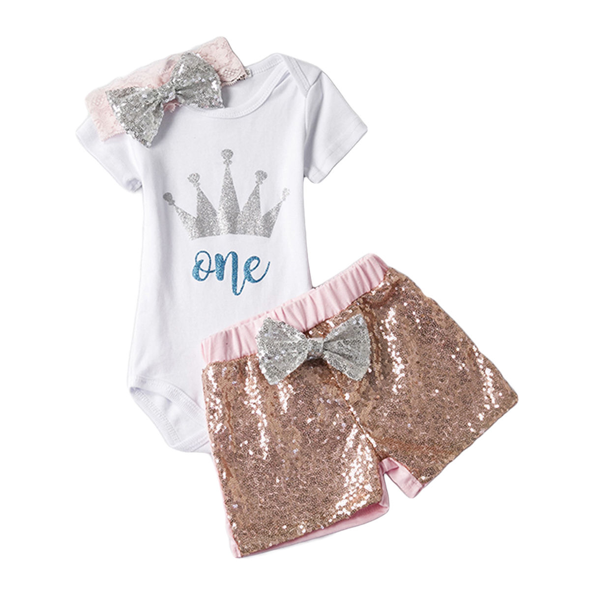 Baby Girls Birthday Outfits Clothes Newborn Kids One Print Romper Jumpsuit Bodysuit+Pants/Shorts set