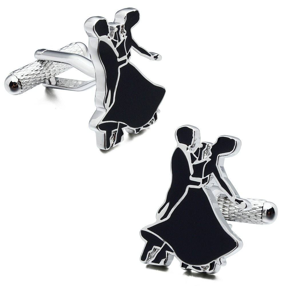 HAWSON Fashionable Style Cufflinks Dancer/Dancing Couples Enamel Black & Silver Cuff Links for French Cuffs/Shirts Gift for Men