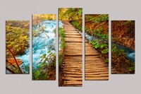 Oil Painting on Canvas 5pcs about Creek and wooden bridge Modern style wall pictures cafe bar kids room wall decor RM5 017