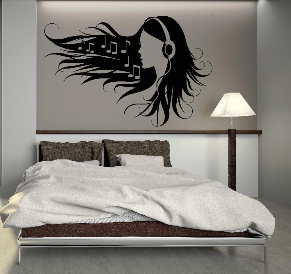 tiener meisje in hoofdtelefoon muziek rock pop meisje voor slaapkamer muurschilderingen vinyl muursticker verwijderbare woondecoratie in tiener meisje in