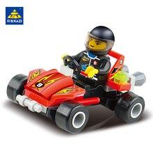 KAZI Mini Racer Racing Car Building Blocks Toys Minifigure Boy Brinquedos Compatible with lego