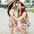 Ms100 derss family fashion clothes for mother and daughter lace collar one-piece dress summer dress summer tank 2016 beachwear