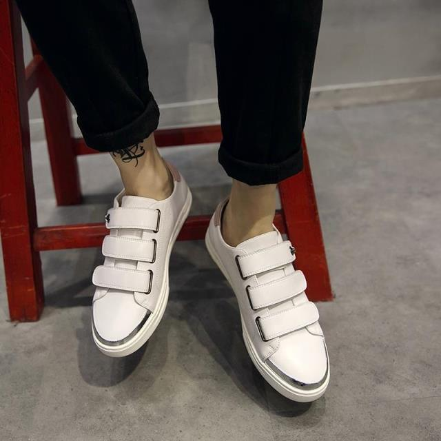 ФОТО 2016 Summer Style Magic Tape Men New Fashion Shoes Comfortable Breathable Black And White Casual Male Shoes