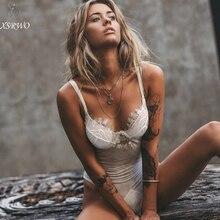 2018 New Sexy Lingerie Plus Size White Unlined Erotic Bodysuit Lace Mesh  Transparent Deep-V 887db09b1