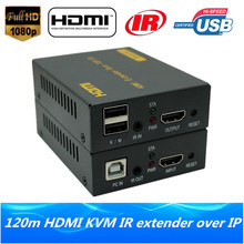 High Quality 120m HDMI USB KVM Over IP Extender HD 1080P HDMI KVM IR Extender Via RJ45 Cat5e Cat6 Cable Support Keyboard & Mouse