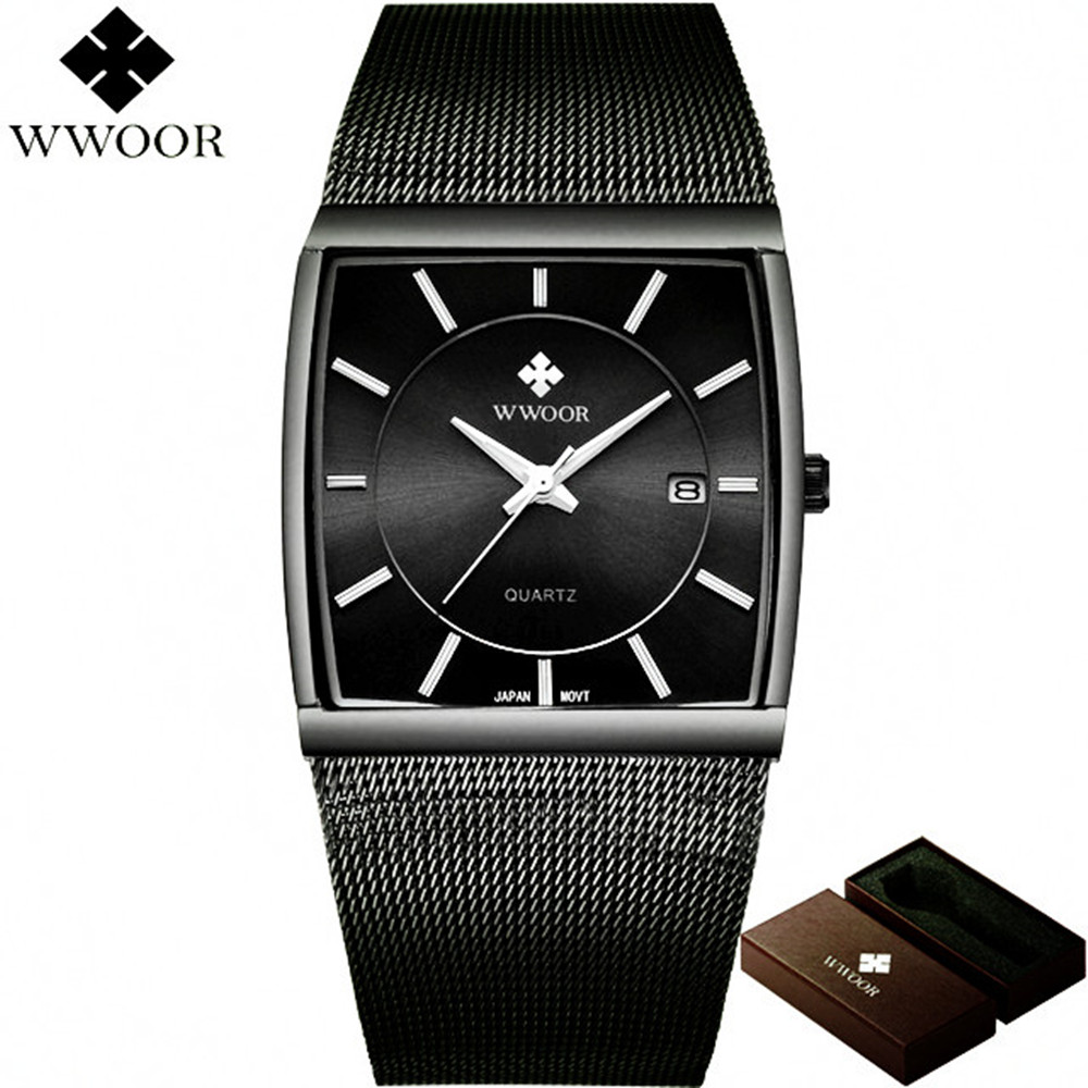 WWOOR 50m Waterproof Watch Men Square Date Stainless Steel Analog Wrist Quartz Watch for Men Sports Wristwatch relogio masculino цена и фото