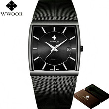 WWOOR 50m Waterproof Watch Men Square Date Stainless Steel Analog Wrist Quartz for Sports Wristwatch relogio masculino