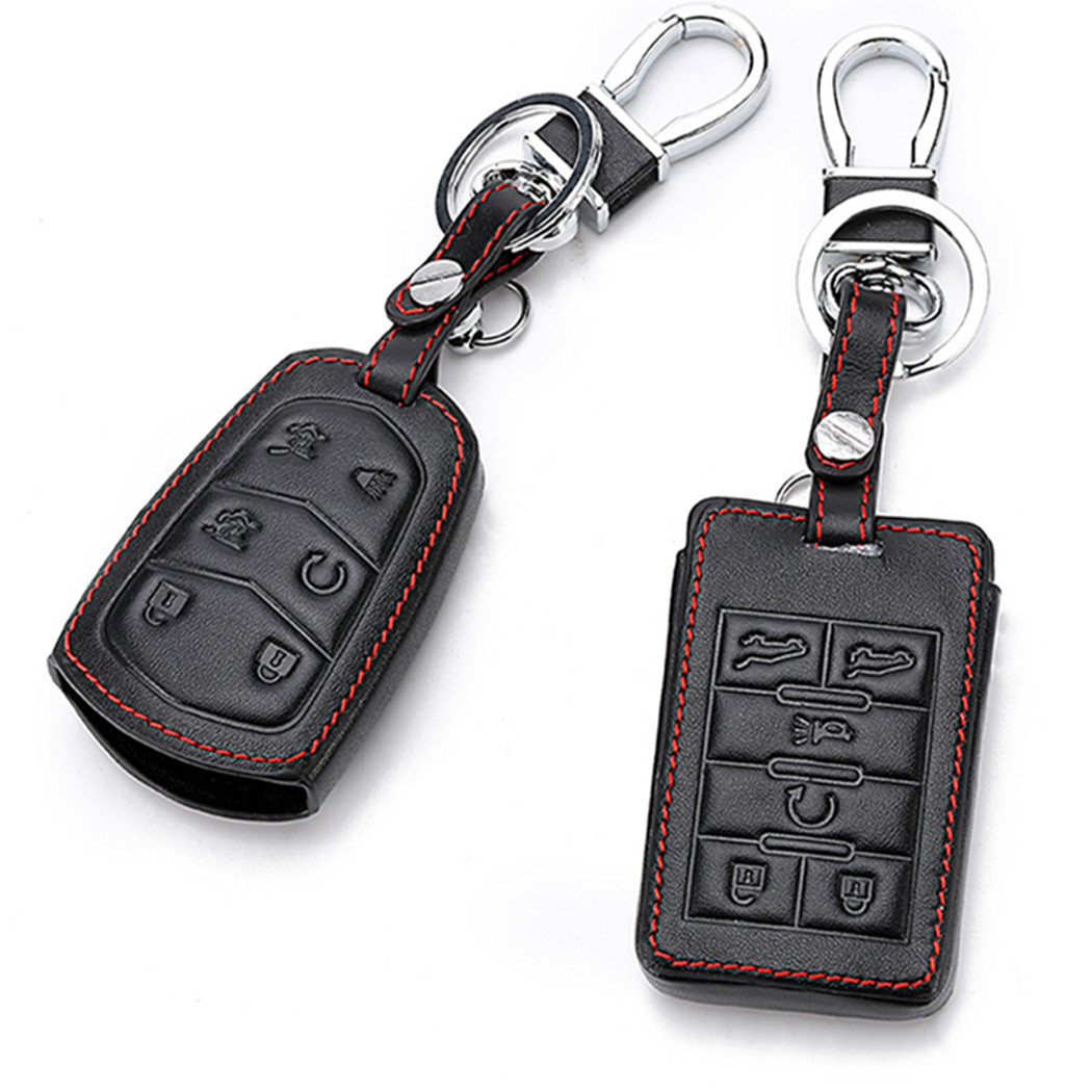 Black Leather Smart Remote 6 Buttons Key Chain Holder Cover Fob For Chevrolet