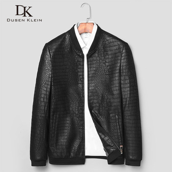 Brand leather jackets formen Genuine Sheepskin coats Crocodile pattern Dusen Klein  Fashion leather men coat and jacket J1718