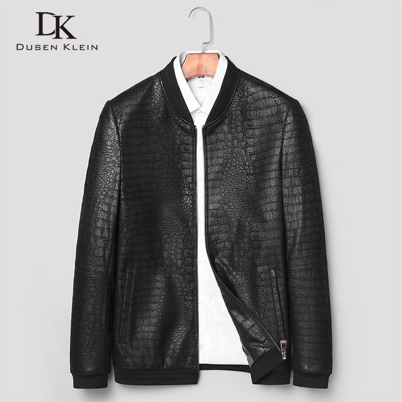 Erkek Kıyafeti'ten Hakiki Deri Montlar'de Marka DERİ CEKETLER formen hakiki koyun derisi palto timsah desen Dusen Klein moda deri erkek ceket ve ceket J1718'da  Grup 2