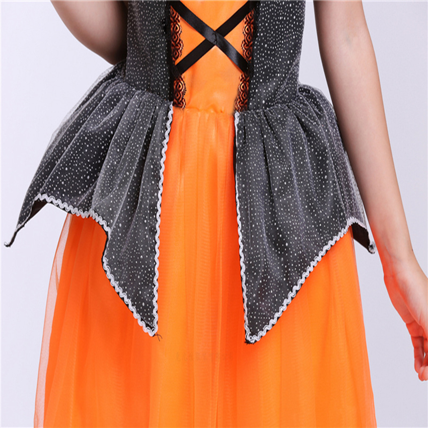 Witch Costumes Kids Vampire Witch Dresses for Girls Fancy Party Dress Halloween Costumes for Kids with Hat Magic Wand Bag in Dresses from Mother Kids