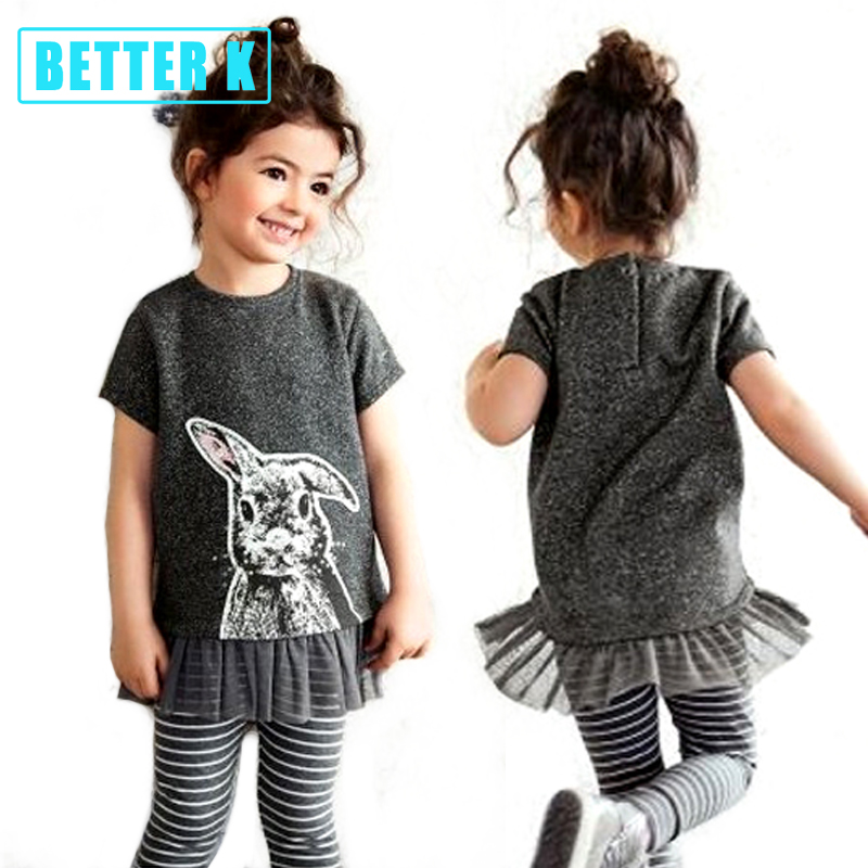 Better K Summer Girls Fashion Clothing Sets Brand Girls Clothes Kids Clothing Sets Girl Tops Gray T-Shirt + Pant 2Pcs Suits fashion autumn girl clothing sets denim outfits girls clothes sets jeans jackets shirt patchwork dress 2pcs suits with necklace