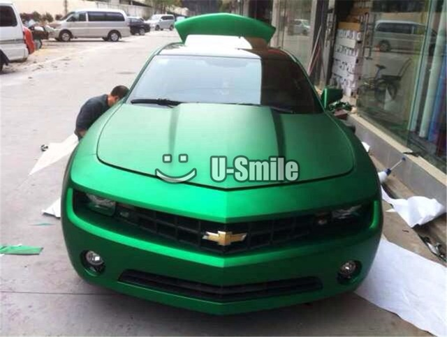 Premium Satin Matte Metallic Green Car Vinyl Wrap Film Sheet