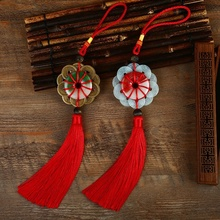 Diy Chinese knot pendant tassel 10 pieces of copper coin with jade Fringe lucky charm interior decoration