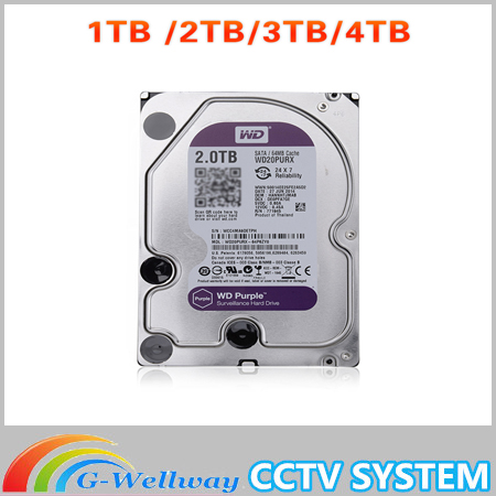In Stock WD Purple 1TB 2TB 3TB 4TB Hard Drive Disk For Security System HDD 3.5 SATA DVR CCTV PC HDD Surveillance Hard Drives new and retail package for 454273 001 mb1000ecwcq 1 tb 7 2k sata 3 5inch server hard disk drive 1 year warranty