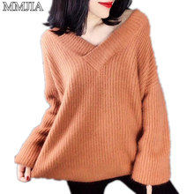 MuMuJia Knitted Sweater Autumn Women Plus Size V Neck Loose Sweater Pullovers Ladies Winter Solid Color Cashmere Sweaters Tops turtleneck pullovers loose basic sweater autumn and winter tops solid cashmere sweater women loose thick mink cashmere sweater