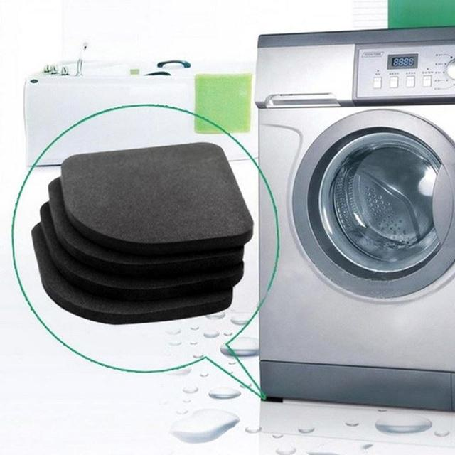 4PCS/Set Black Rubber Leg Anti Vibration Non Slip Mat Refrigerator Chair Desk Feet Mats Washing Machine Shock Absorbing Pads