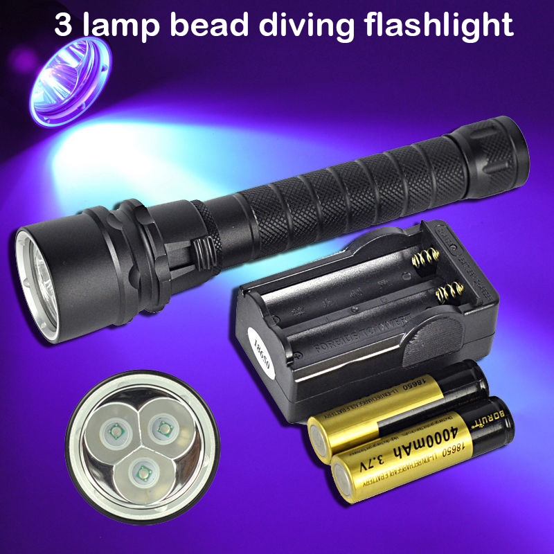 3*CREE XP-E LED 100M Diving Flashlight Purple Light supplementary lighting for underwater photography and video shooting