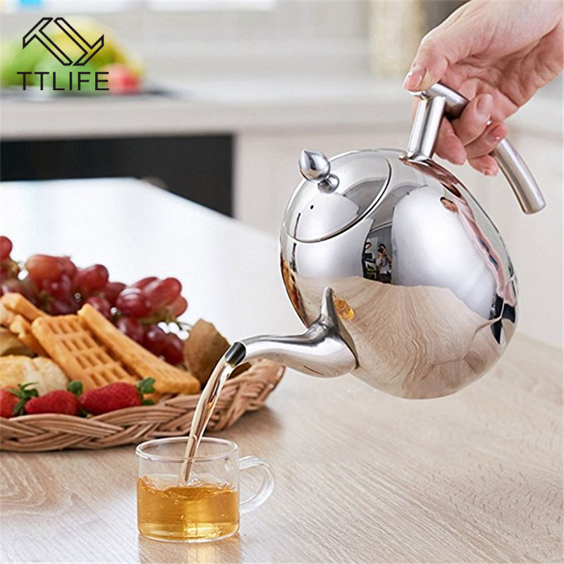 TTLIFE Stainless Steel 1L/1.5 Coffee Pot With Strainer Durable Teapot Coffee Water Kettle Household Kitchen coffeeware Tea Tool
