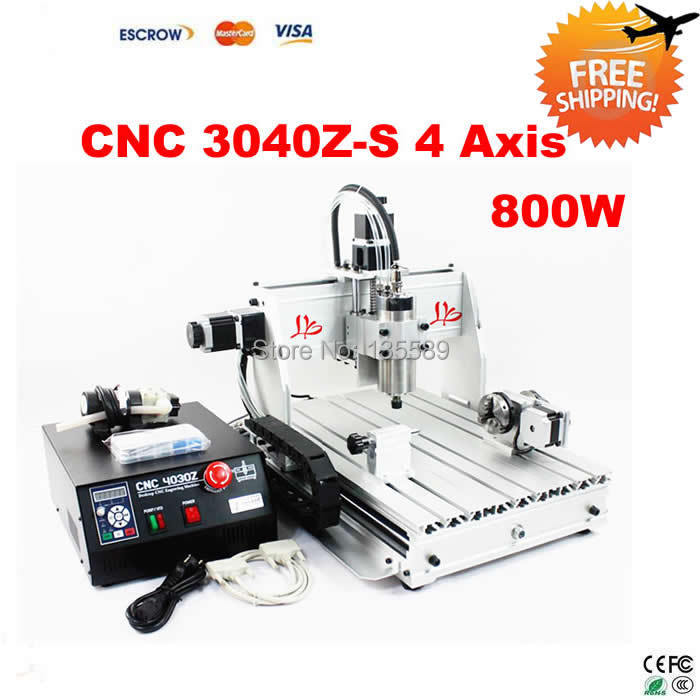 Free Shipping!CNC 3040 Z-S 4 Axis CNC Router milling machine with 800W VFD water cooled spindle for 3D work russia tax free cnc woodworking carving machine 4 axis cnc router 3040 z s with limit switch 1500w spindle for aluminum
