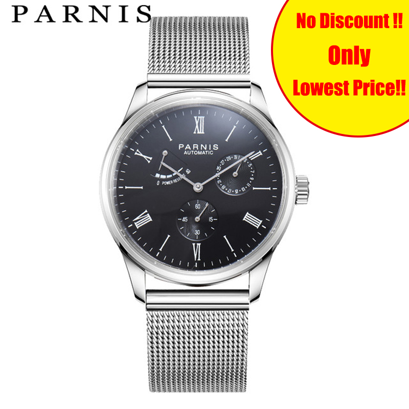 Parnis Watches for Mens Mechanical Autimatic Watch 42mm Power Reserve Seagull Mesh Steel Band Waterpoof Luxury Male WristwatchParnis Watches for Mens Mechanical Autimatic Watch 42mm Power Reserve Seagull Mesh Steel Band Waterpoof Luxury Male Wristwatch