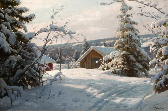 free shipping classical winter snow wood house scenery canvas prints oil painting on canvas home wall art decoration pictures
