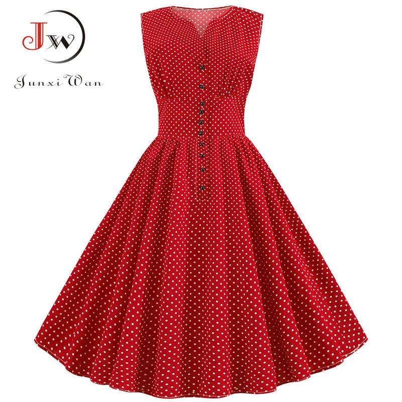 Women Summer Red Vintage Dress Polka Dot 50S 60S Pin Up Rockabilly Plus Size Button A-Line Party Dresses Vestidos De Fiesta 2019